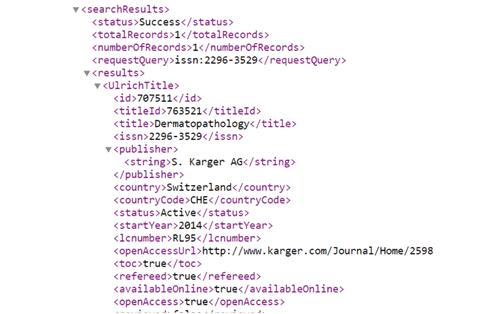 Ulrichsweb API and Data Integration