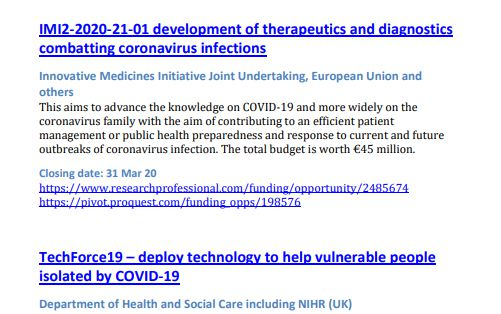 COVID-19 funding screenshot