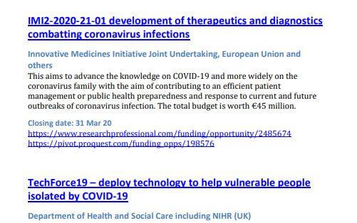 COVID-19 funding screenshot